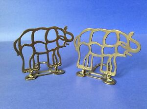 Hinged Folding Brass Metal Elephant Bookends Stencil Outline