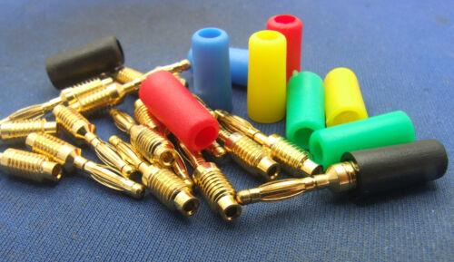 5 PCS 5 colors Copper Gold 2mm Banana Plug for 2mm Test Probes Medical equipment