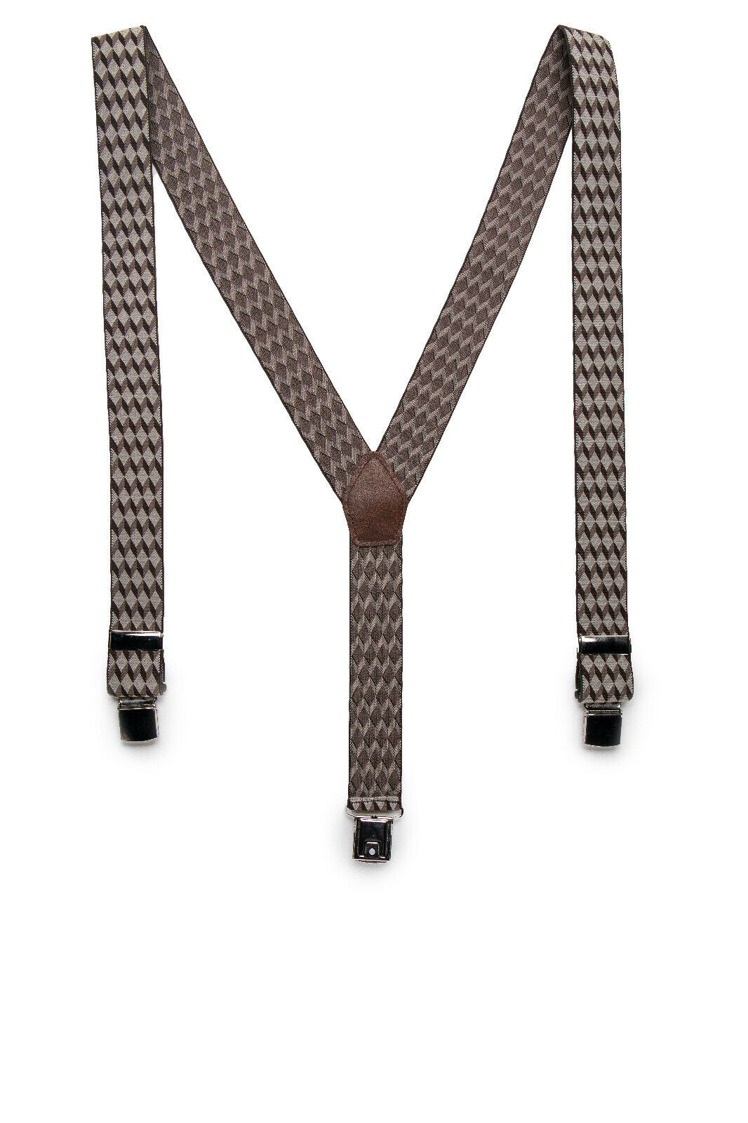 Clip Fashion Dress Vegan Suspender on Chechered Geometric Elastic & Adjustable
