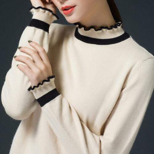 12 Colors Women/'s Cashmere Blend Pullover Sweater Turtleneck Falbala Loose 3XL