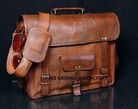 Skh Men's Genuine Vintage Brown Leather Messenger Shoulder Laptop Bag For Upto on sale
