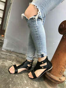 Womens-Gladiator-Sandals-Summer-Beach-Flat-Heel-Peep-Toe-Casual-Shoes-Flip-Flops