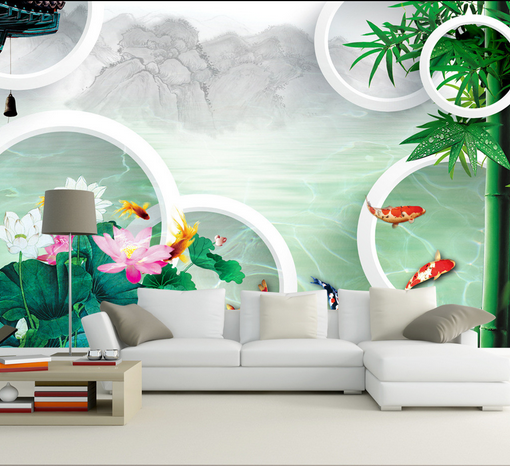 3D Bamboo Carp 644 Wallpaper Murals Wall Print Wallpaper Mural AJ WALL AU Kyra