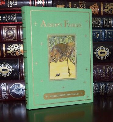 Aesop/'s Illustrated Fables New Sealed Leather Bound Deluxe Gift Edition Aesops
