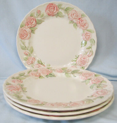 """Vintage Vernon Ware Pottery ROSE A DAY 10"""" Dinner Plate Pink Floral"""