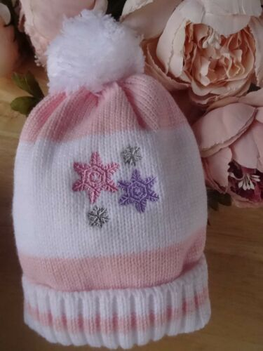 Bebé Niñas Blanco Rosa Púrpura Tejido Pom-Pom Tire de Beanie Sombrero Forrado NB-0-3m