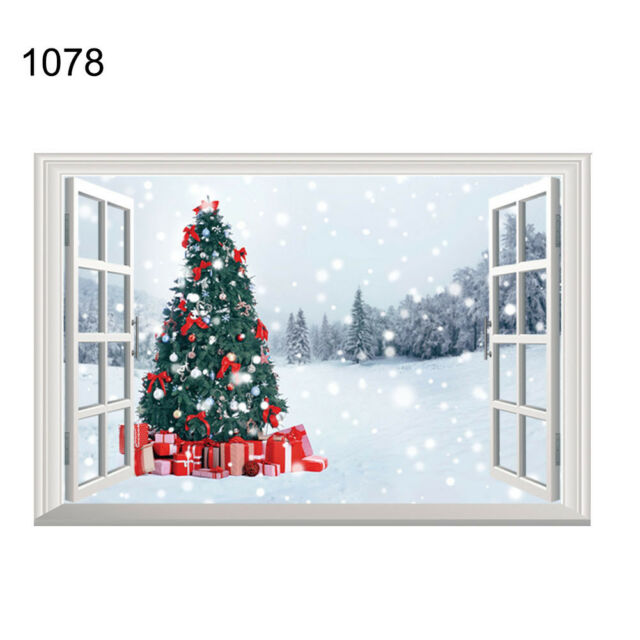 Merry Christmas Wall Window Sticker Party Home Ornament Santa Elk Art Decor Xmas