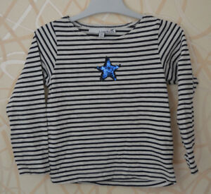 LISA-ROSE-gt-T-shirt-manches-longues-raye-blanc-bleu-3-ans-KDS