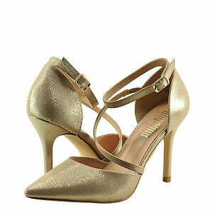 Women/'s Shoes Blossom A Josie 7X Strappy D/'orsay Pointed Toe Pumps Champagne New