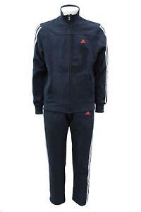 Dettagli su Tuta da uomo blu completo Adidas manica lunga ginnastica palestra cotone sport
