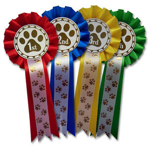 Details about Dog Show Rosettes, Dog Training Rosettes Paw Print 1st, 2nd,  3rd and 4th - PAW1