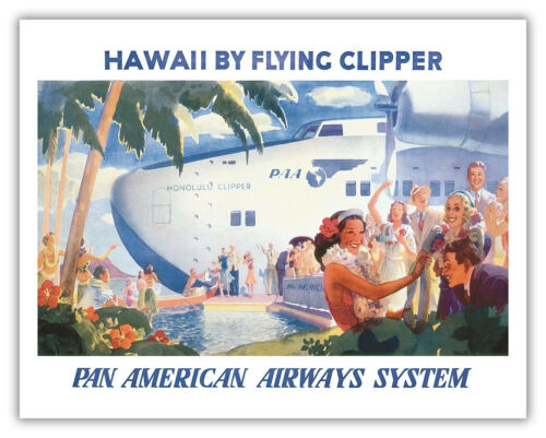 VINTAGE ART PRINT Honolulu PAN AM CLIPPER Retro Hawaii Travel 24x36 Poster