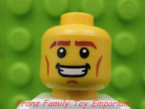 New LEGO Minifig HEAD w//Smile//Teeth//Cheek Lines Male Boy City Police Body Part
