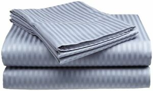 King-Size-Light-Blue-400-Thread-Count-100-Cotton-Sateen-Dobby-Stripe-Sheet-Set