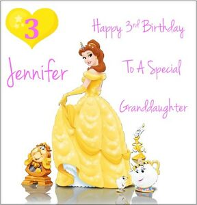 Image Is Loading Personalised Disney Princess Belle Birthday Card 1st 2nd