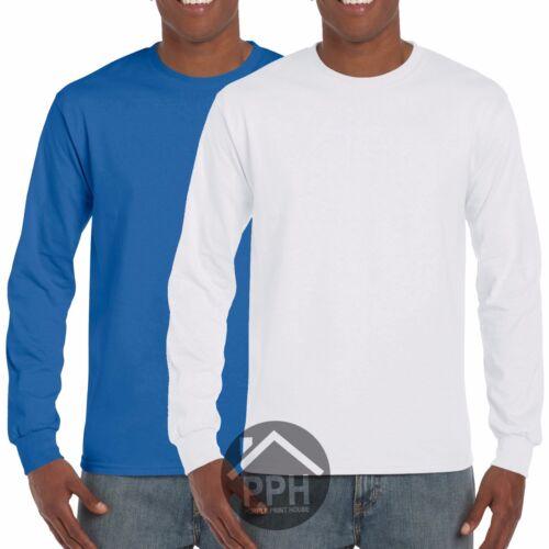 2 Pack Mens Gildan RED WHITE LONG SLEEVE T Shirt Work wear Wholesale Tshirt