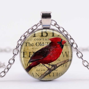 Cardinal Red Bird Jewelry Cabochon Tibetan silver Glass Chain Pendant Necklace
