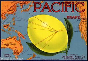 LEMON CRATE LABEL US MAP PACIFIC OCEAN SANTA BARBARA HAWAII - Santa barbara on us map