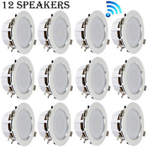 LOT OF 12 3.5/'/' Bluetooth Ceiling//Wall Speakers  2-Way w// Built-in LED Ligh