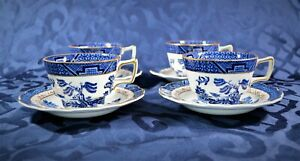 Booths-034-Real-Old-Willow-034-A-8025-Teacup-amp-Saucer-4-Sets-Vintage-English-China