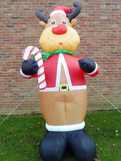 Large Christmas Inflatable Reindeer Decoration 240cm 8ft Tall With 4 LED  Lights