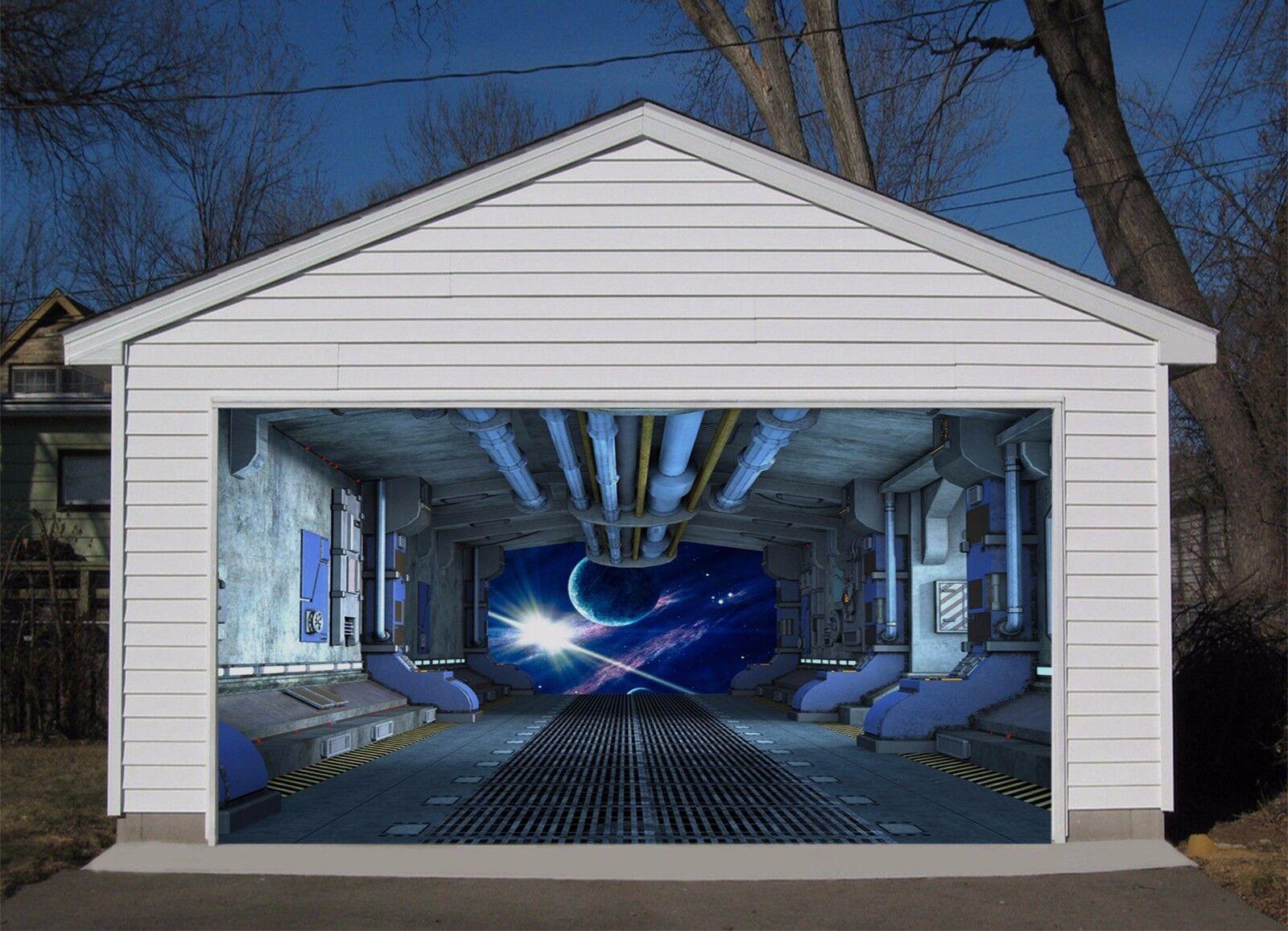3D Cabin Moon Stars 44 Garage Door Murals Wall Print Wall AJ WALLPAPER UK Lemon