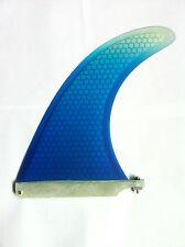 "Surfboard Honeycomb Longboard Fin 9"" Inch + Plate & Screw.SUP Mal fins. Blue."