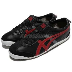 pick up 605a9 97844 Details about Asics Onitsuka Tiger Mexico 66 Black Red Grey Leather Men  Shoes D4J2L-9023