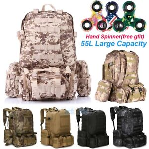 55l Outdoor Military Molle Tactical Backpack Rucksack Camping Bag