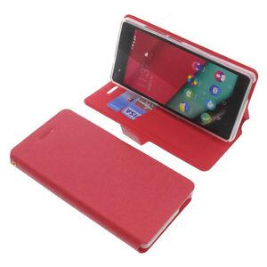 Coque-pour-Wiko-Pulp-4G-Style-Livre-Housse-Etui-Telephone-Portable-Rouge