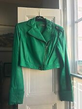 Beautiful Emerald Green Cropped Leather Jacket Size 10 DVF Diane Von Furstenberg