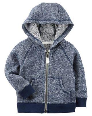 Carters Infant Boys Heather Brushed Fleece Zip-Up Hoodie NWT gray hooded jacket