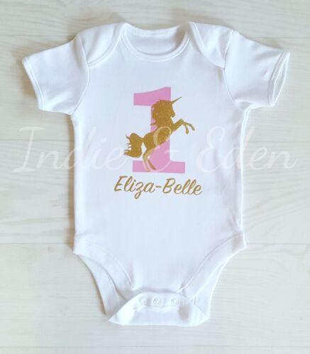 Unicorn Baby Outfit Name 1st Birthday Vest Baby Grow Babygrow Cake Smash Photo