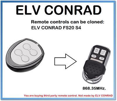 868.35MHz Universal Garagentor Handsender ELV CONRAD FS20 S8-2