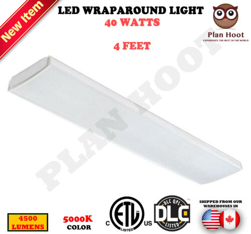 4 FT 40W LED Wraparound Light ETL DLC 5000K Recessed Ceiling Light Fixture