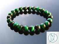 Green Tigers Eye Dyed Natural Gemstone Bracelet 7-8'' Elasticated Healing Stone