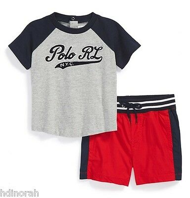 NWT RALPH LAUREN RL NAVY BLUE with STRIPED BELT SHORTS Infant 9 mo OR 12 months
