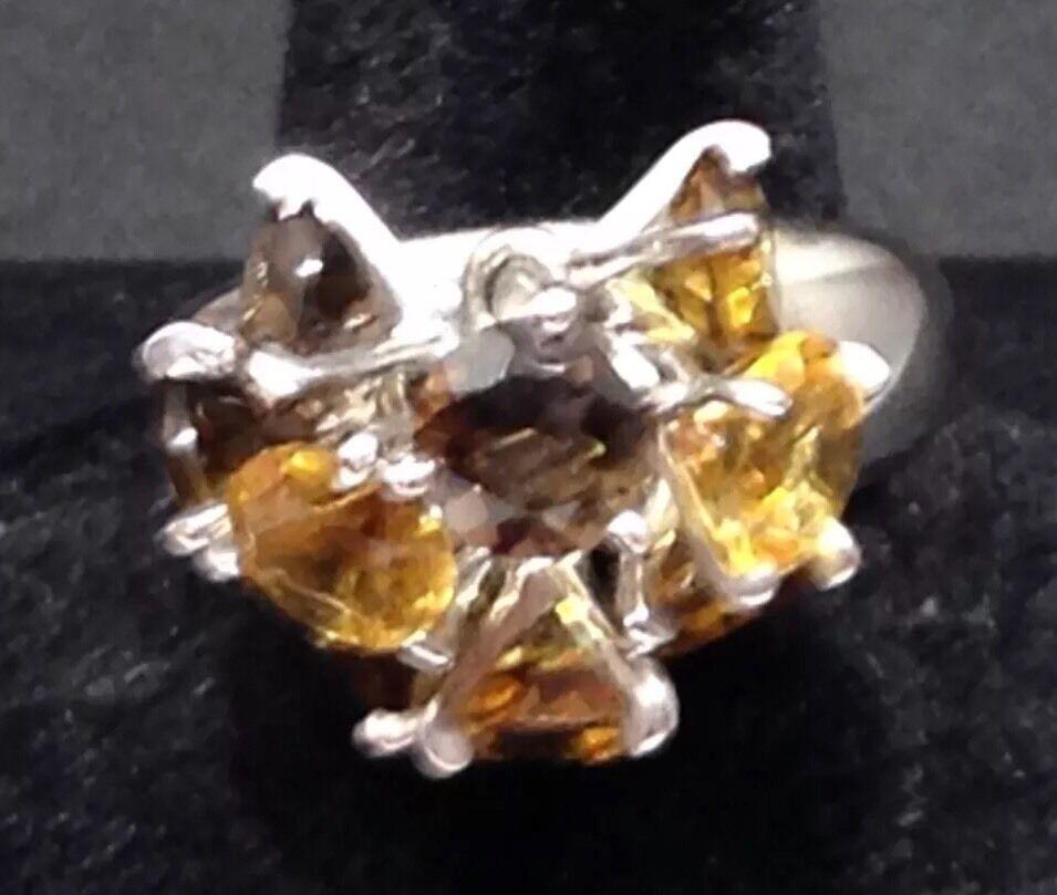 925 argentoo Sterling Citrino CHAMPAGNE & & & Anello di quarzo fumè dimensione N RIF 316 04d87a