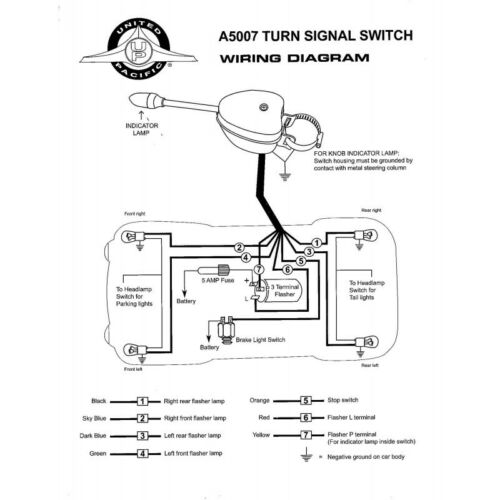 Vintage Car Truck Chrome Steel Housing Universal Turn Signal Switch
