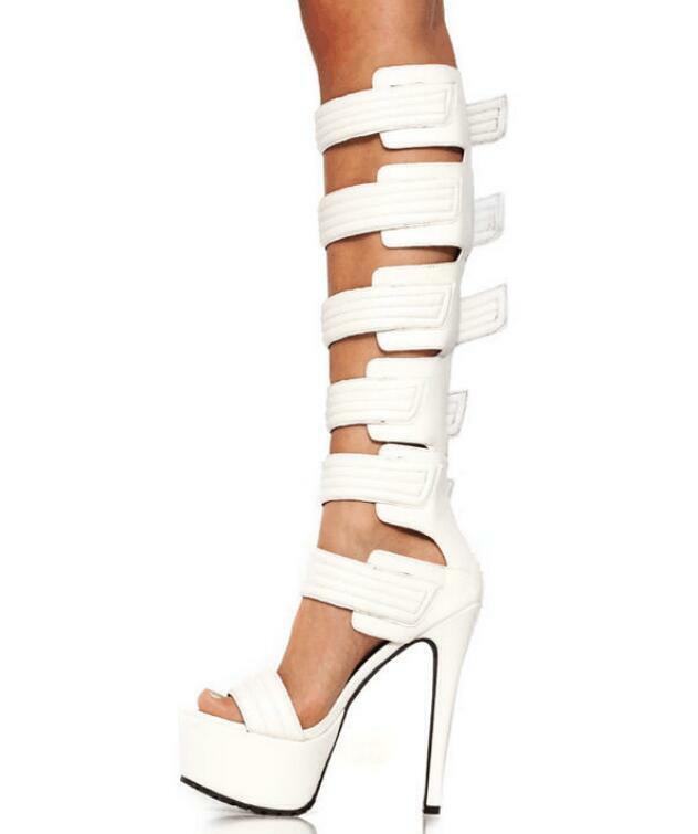Fashion Lady donna Sandals High High High Heels Solid Leather scarpe Nightclub Stilettos f352b6