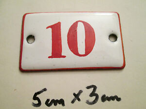Nummer Emaille Nr. 10 rote Zahl auf weißem Hintergrund 5 cm x 3 cm gebraucht