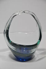 MDINA STUDIO ART GLASS BASKET VASE UNSIGNED