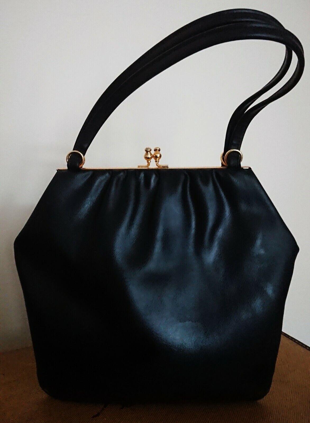 Vintage 1960s Large Faux Leather Navy Blue Handbag.