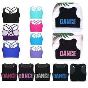 Girls Dance Sports Crop Tops Kids Gymnastics Workout Training Bra Vest Dancewear
