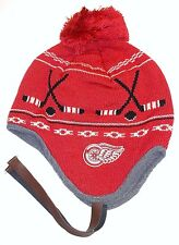 New NWT Detroit Red Wings CCM NHL String Red Pom & Tassels Beanie Winter Cap Hat