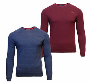 Superdry-Mens-New-Orange-Label-Crew-Neck-Cotton-Jumper-Long-Sleeve-Blue-Burgundy