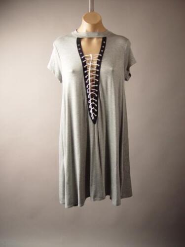 Gray Choker Mock Neck Plunge Strap Lace Up Tunic T Shirt Mini 259 mv Dress S M L