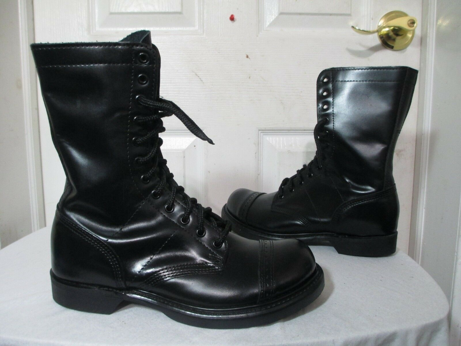 CORCORAN WOMEN'S BLACK LEATHER CAP TOE JUMP BOOTS 8½ D MADE IN USA