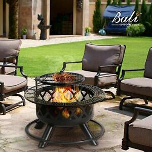 Round Fire Pit for Patio, Backyard & Outdoor with Cooking Grill BBQ Firepit