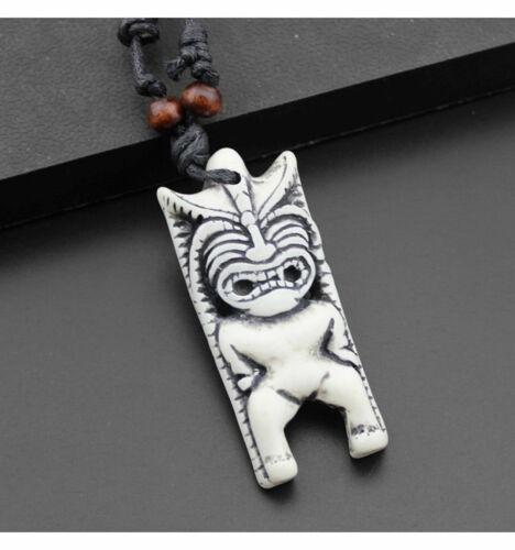 Surfer Halskette Tiki Totem Anhänger Maori Hawaii Yak Knochen